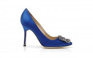 Blue satin court shoes