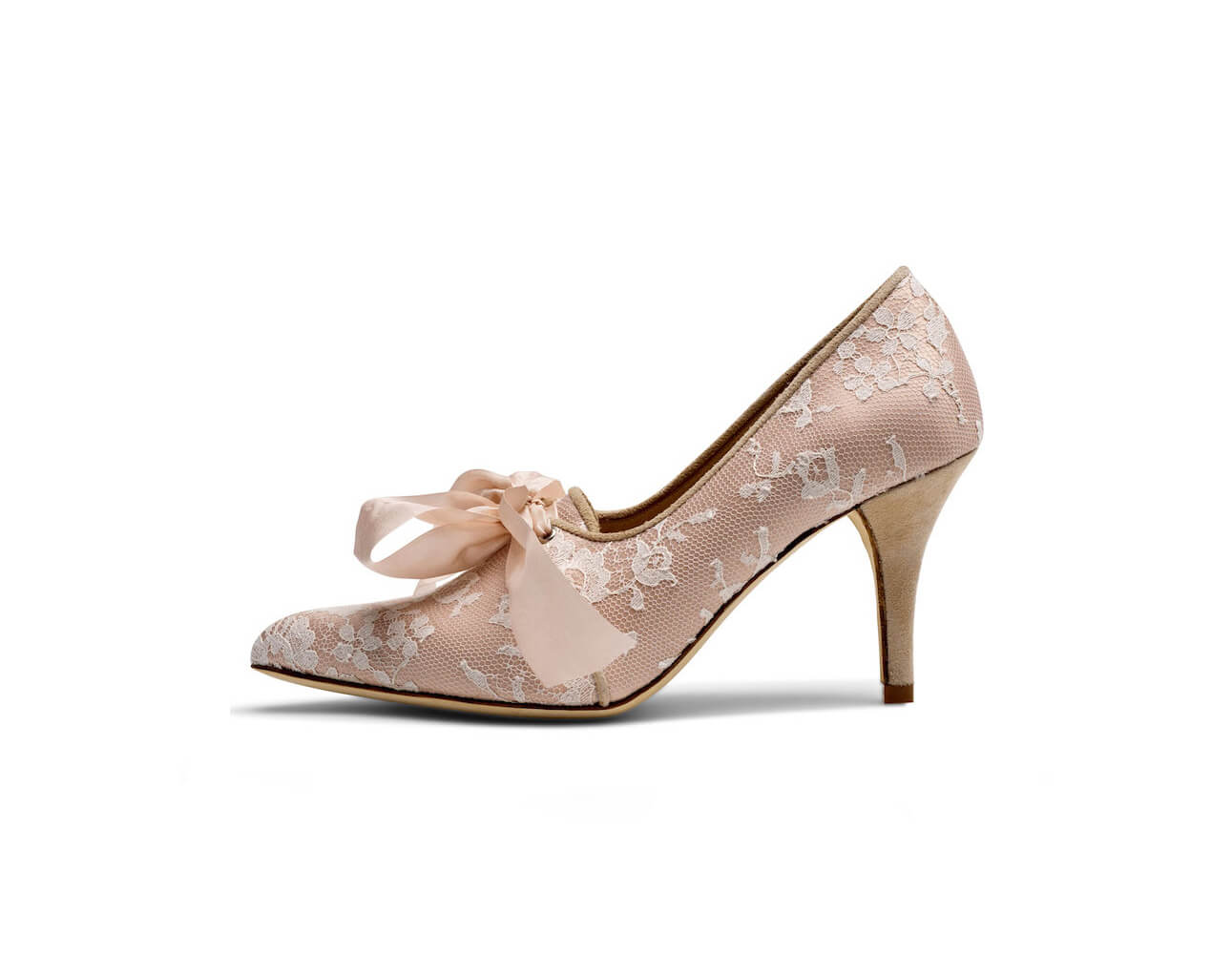 Blush coloured silk and ivory lace wedding shoe with silk bow