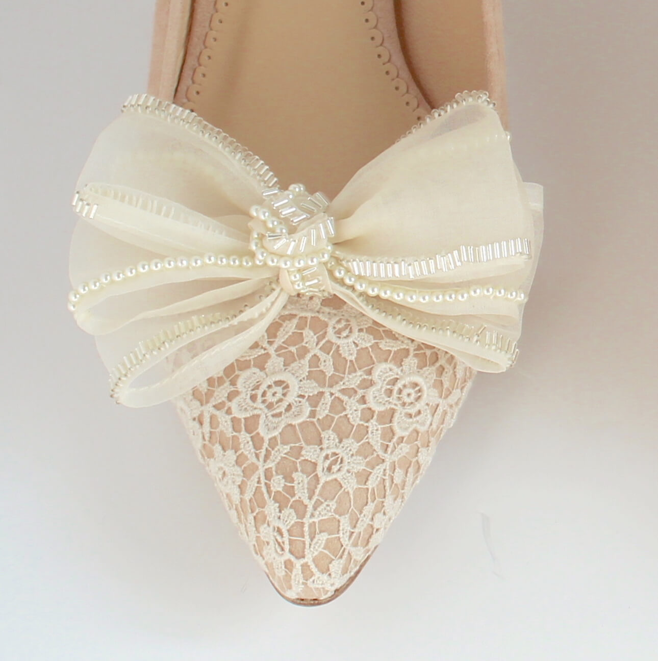 Willo suede shoe with beaded organza bow