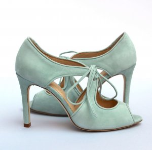 powder blue peep toe shoe