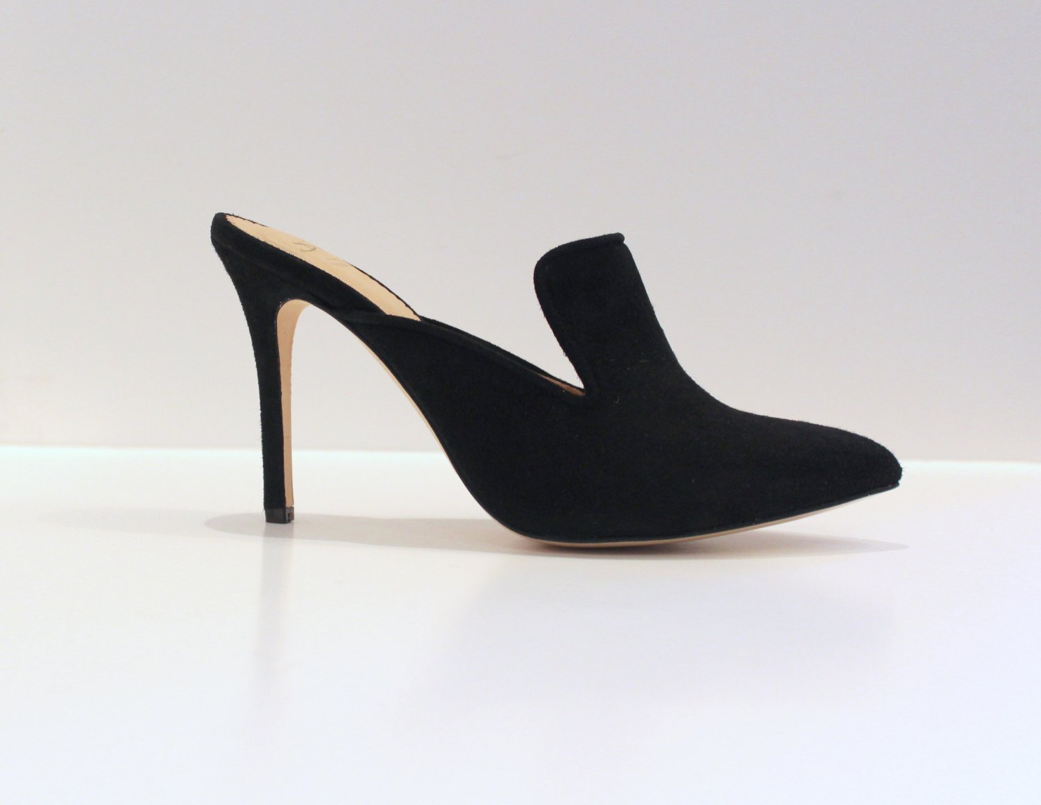 Black suede mule with high heel