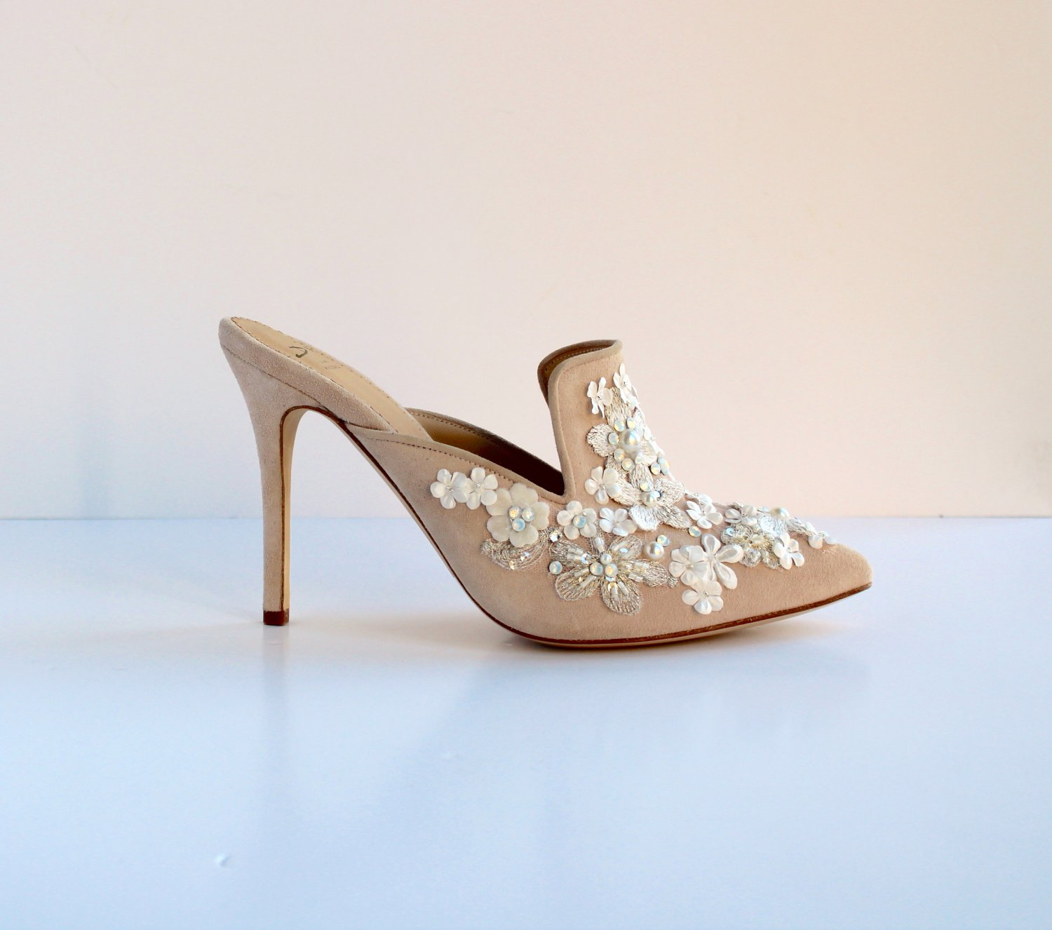 nude suede mule with ivory silk and believer daisy embellishment