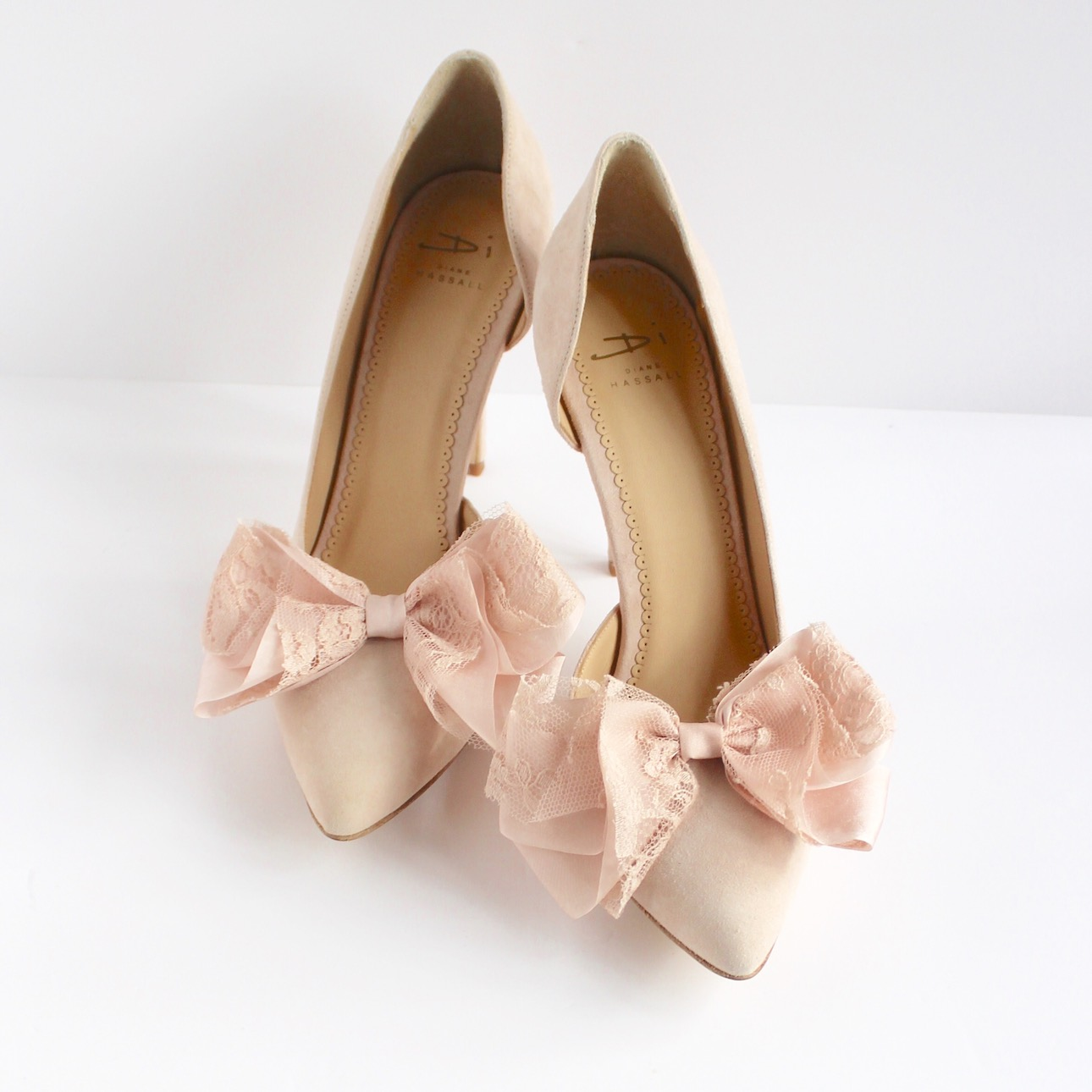 blush pink court shoe with bows