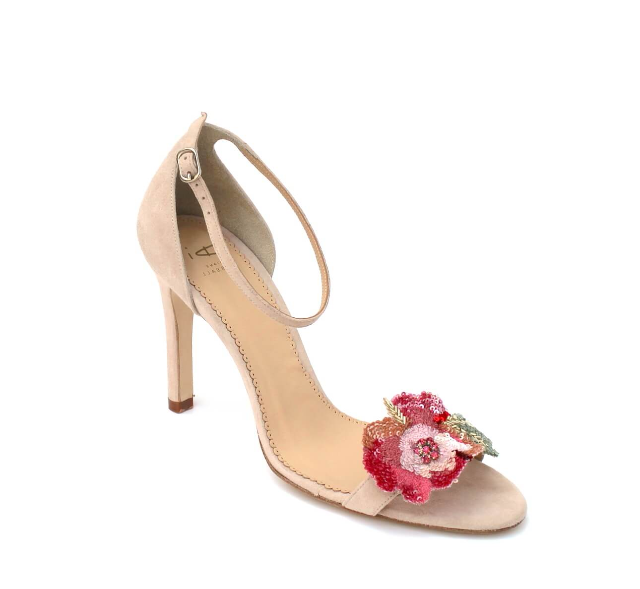 suede sandal with floral detail