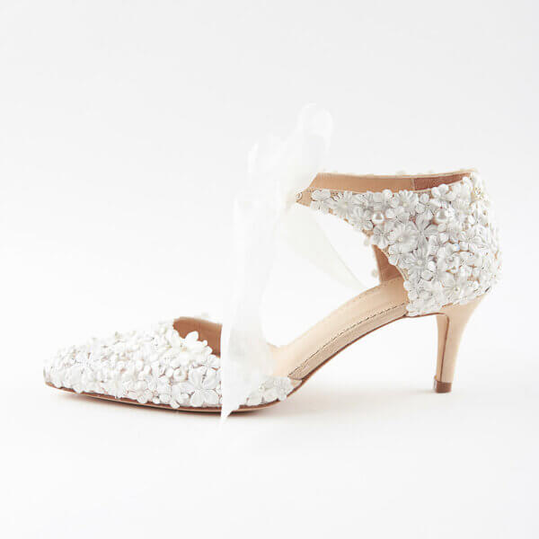 Bettina mid height wedding shoe with floral embellishment and tie front