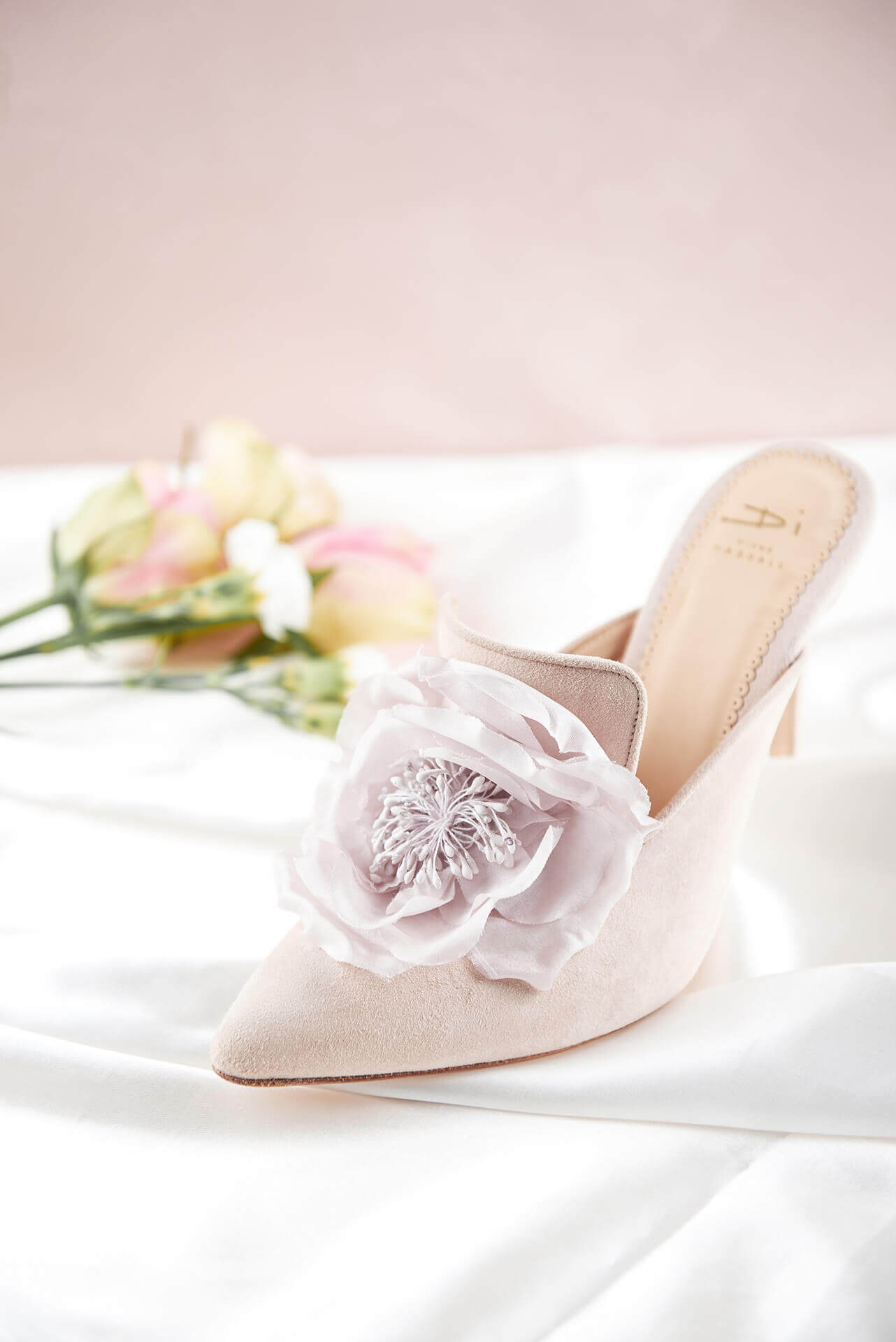 Blush Cassis suede mule with large blush rose detail on front