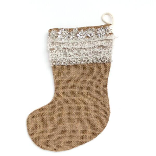 Hessian Christmas stocking